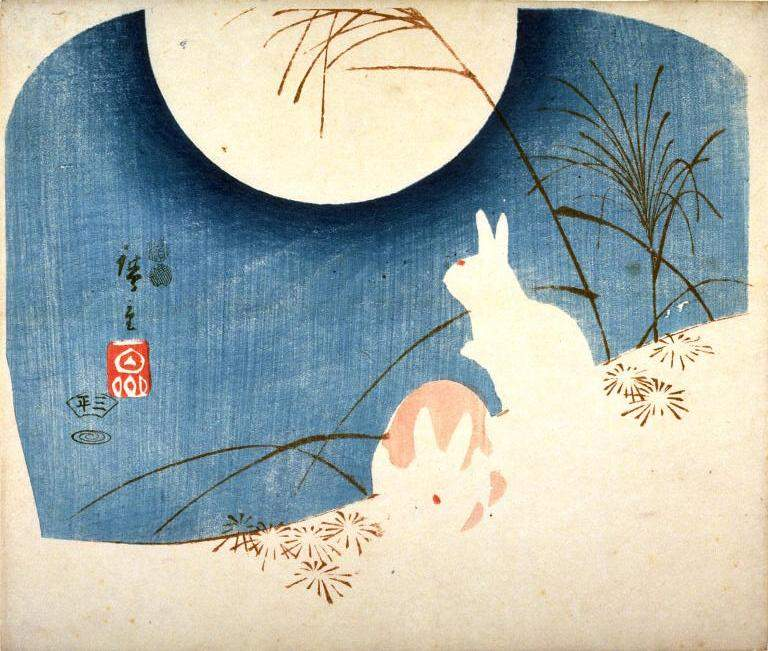 Untitled (Two Rabbits, Pampas Grass, and Full Moon) — Хиросиге