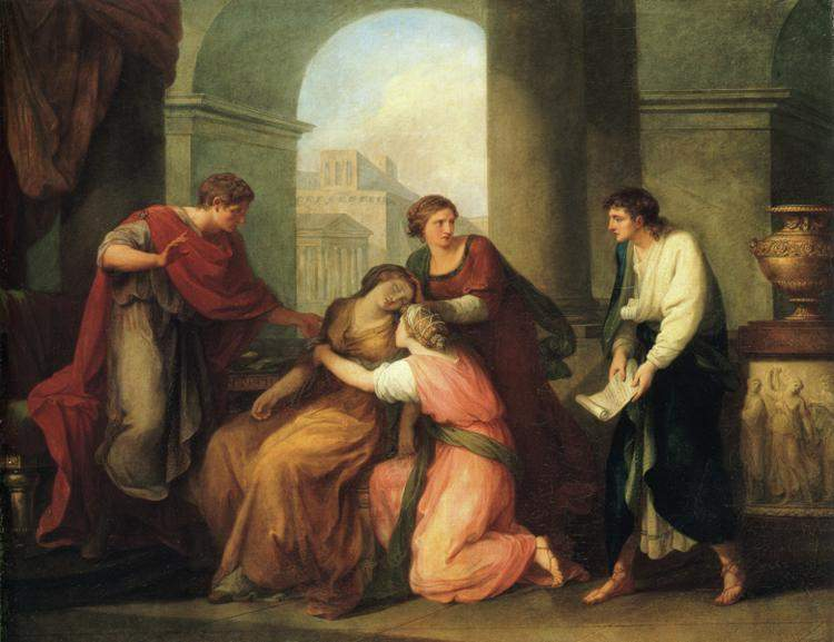 Virgil Reading the Aeneid to Augustus and Octavia — Ангелика Кауфман