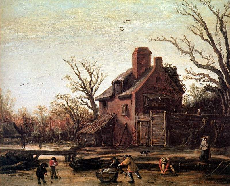 Winter landscape with farmhouse — Эсайас ван де Вельде