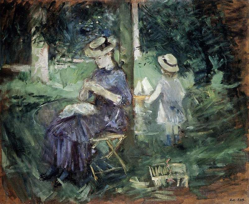 Woman and Child in a Garden — Берта Моризо