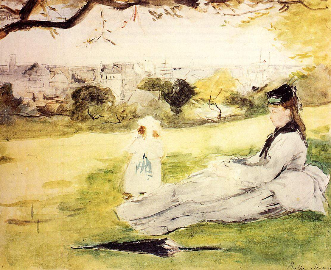 Woman and Child Seated in a Meadow — Берта Моризо