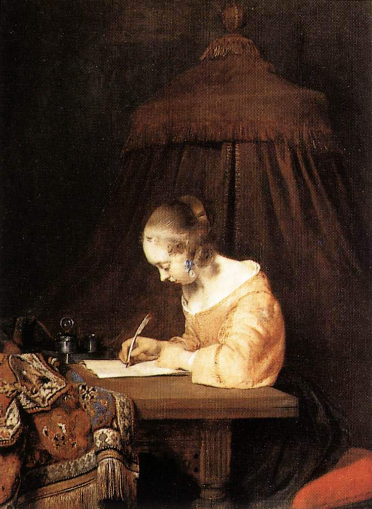 Woman Writing A Letter — Герард Терборх